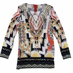 V Cristina Ikat Studded Embellished Tunic Top